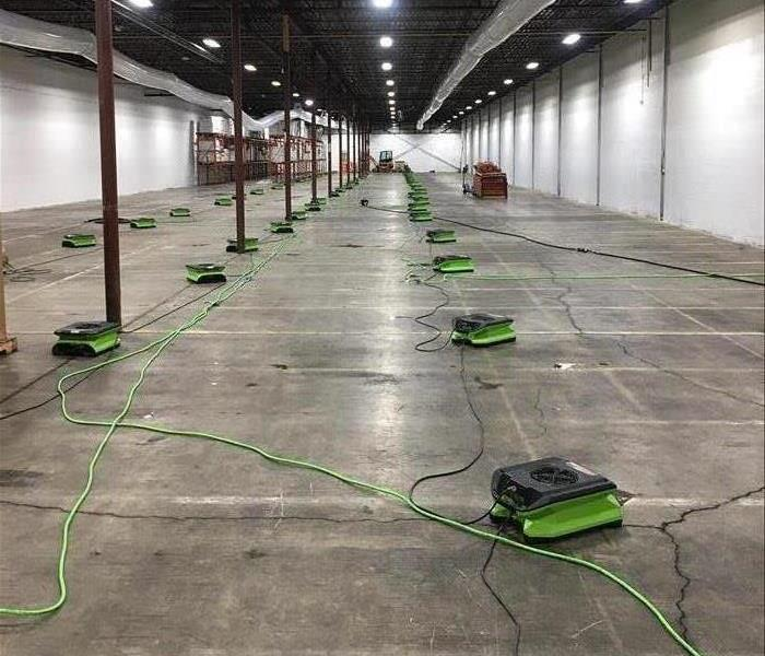 Empty warehouse with drying equipment
