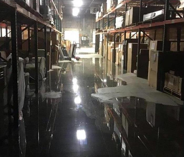 Water flooded warehouse
