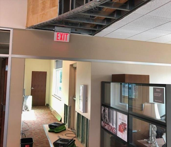 Ceiling leak and drying equipment